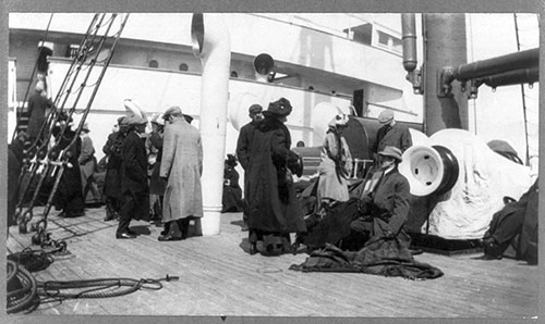 Groups of Titanic Survivors Aboard Rescue Ship Carpathia: Unidentified Group on Deck.