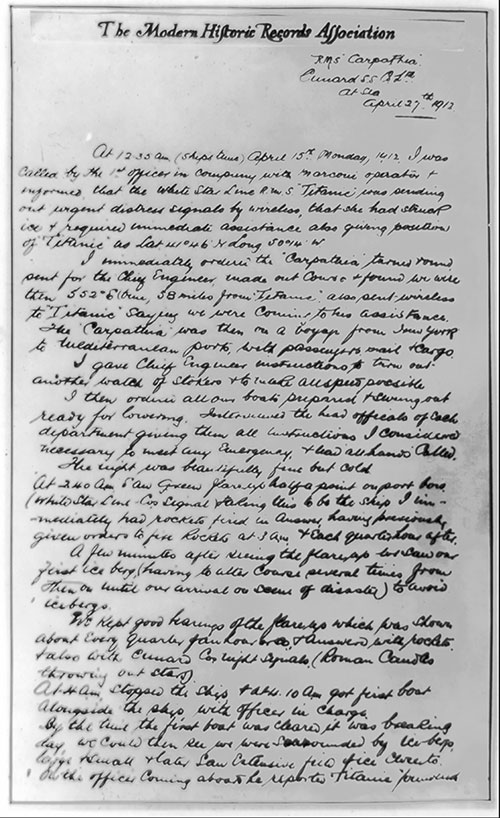 Hand-Written Account by Captain A. H. Rostron of the R.M.S. Carpathia Describing His Response to the Distress Signal of the Titanic on 15 April 1912.