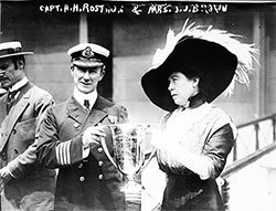Mrs. J.J. Brown Presenting Trophy Cup Award to Capt. Arthur Henry Roston, for His Service in the Rescue of the Titanic.