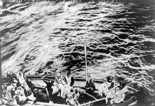 Titanic Survivors on Way to Rescue Ship Carpathia - 15 April 1912