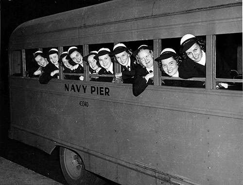 Navy WAVES on Navy Pier Bus - 1944. Library of Congress # 153723431.