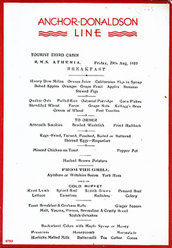 RMS Athenia Breakfast Menu Card 29 August 1930
