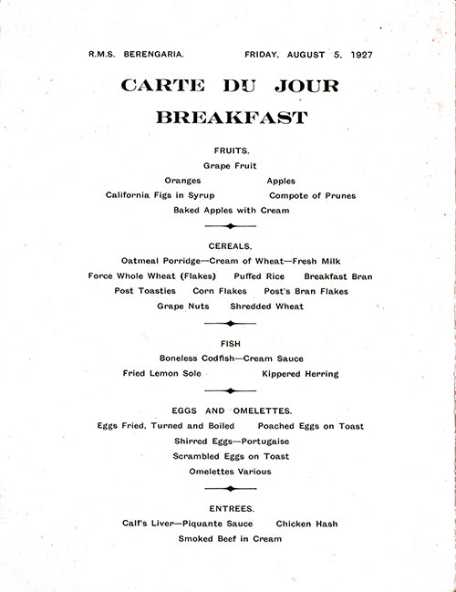 Menu Items, Part 1 of 2, Breakfast Menu, Cunard Line RMS Berengaria 1927
