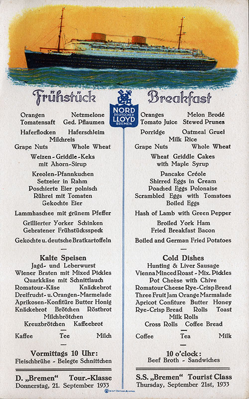 SS Bremen Breakfast Menu Card 21 September 1933