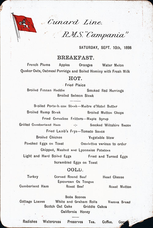 RMS Campania Breakfast Menu Card 10 September 1898