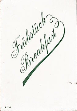 SS Deutschland Breakfast Bill of Fare 26 February 1902
