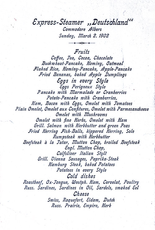 SS Deutschland Breakfast Menu Card 2 March1902