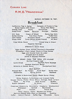 SS Franconia Breakfast Bill of Fare Card 18 October 1931