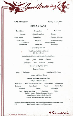 RMS Franconia Breakfast Bill of Fare Card 13 June 1955