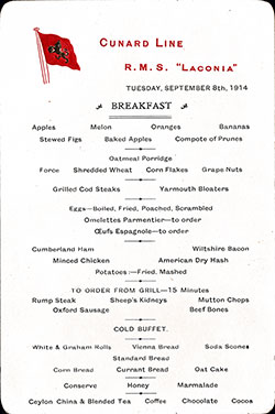 RMS Laconia Breakfast Bill of Fare Card 8 September 1914