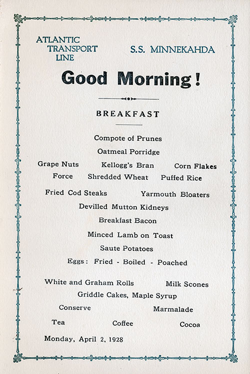 SS Minnekahda Breakfast Menu Card 31 March 1928