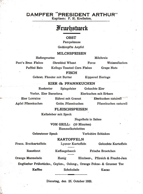 Breakfast Menu in German