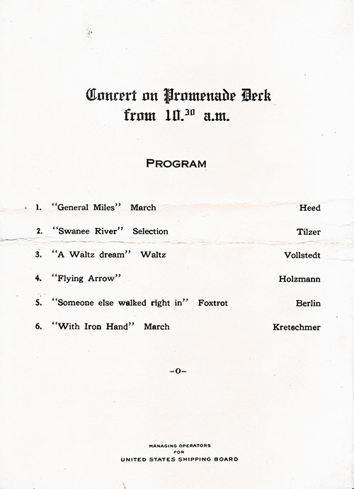 Program for Concert in Promenade Deck