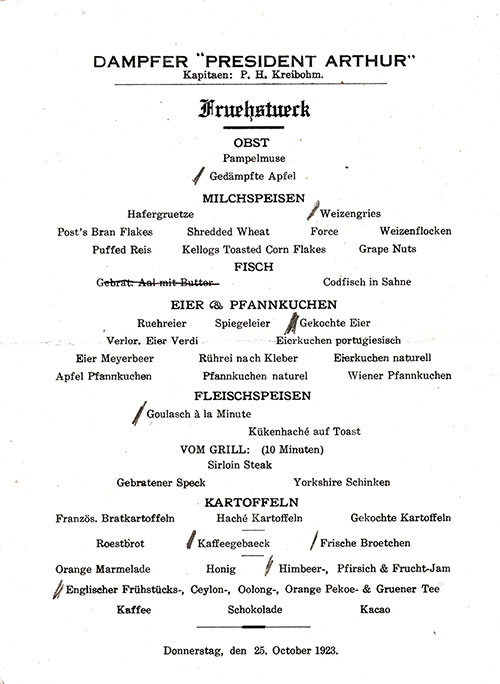 German Language Version of the Vintage Breakfast Bill of Fare from Thursday, 25 October 1923 for the SS President Arthur of the United States Lines.