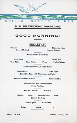 Breakfast Bill of Fare Card, SS President Harding, United States Lines, April 1934, Third Class