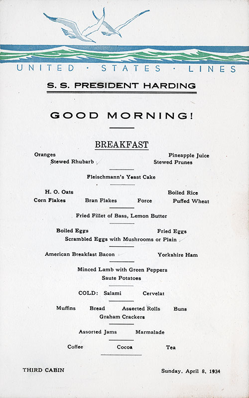 Breakfast Menu Card, SS President Harding, United States Lines, April 1934, Third Class