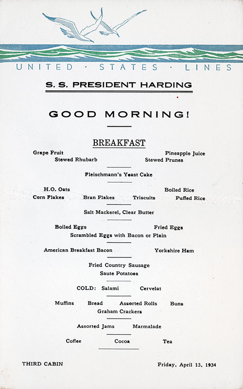 SS President Harding Breakfast Menu Card 13 April 1934