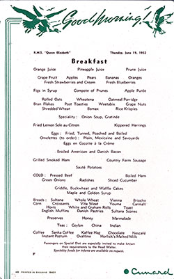 RMS Queen Elizabeth Breakfast Bill of Fare Card 19 June 1952