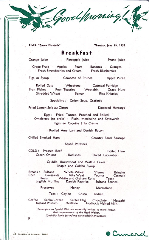 RMS Queen Elizabeth Breakfast Menu Card 19 June 1952