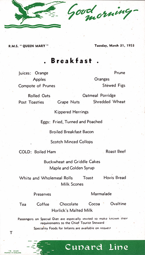 RMS Queen Mary Breakfast Menu Card 31 March 1953
