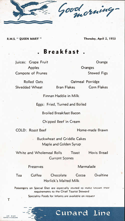 RMS Queen Mary Breakfast Menu Card 2 April 1953