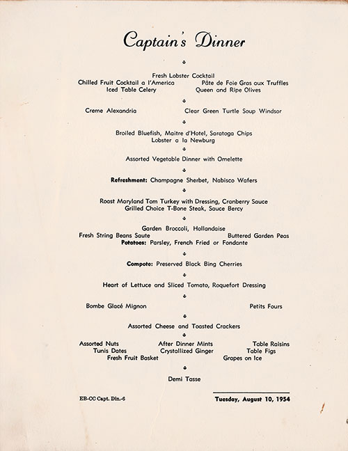 Menu Cover, Captain's Dinner Menu, S.S. America, United States Lines, August 1954