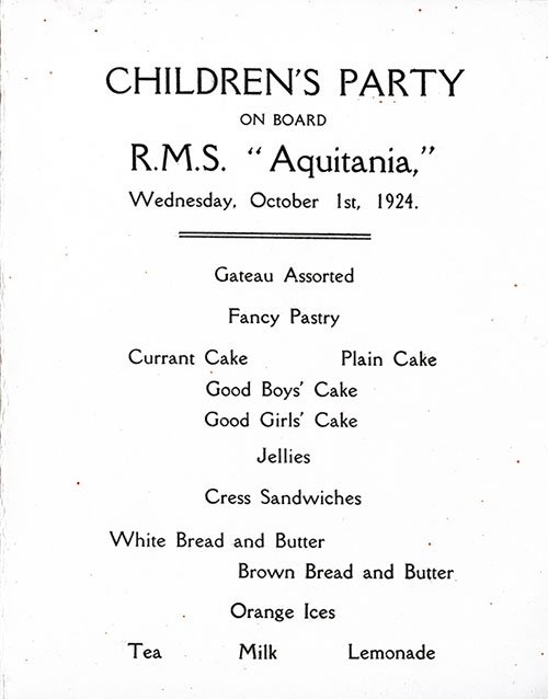 Menu Selections, Children's Party Menu, Cunard Line RMS Aquitania, 1924