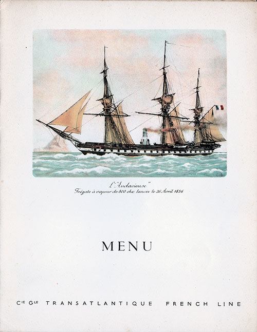 Menu Cover, Christmas Eve Reveillon Dinner Menu, SS De Grasse, CGT French Line (1950)