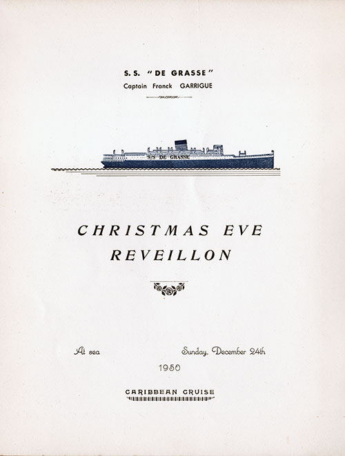 Title Page, Christmas Eve Reveillon Dinner Menu, SS De Grasse, CGT French Line (1950)