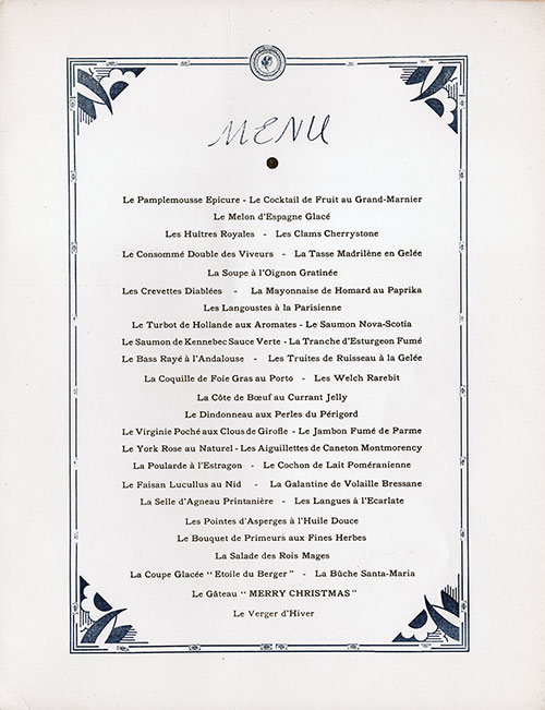 Menu Selections, Christmas Eve Reveillon Dinner Menu, SS De Grasse, CGT French Line (1950)