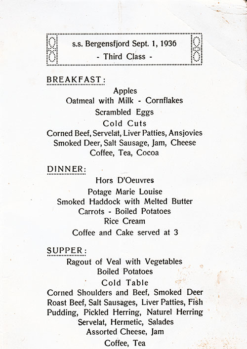 Menu Selections, SS Bergensfjord Daily Menu - 1 September 1936