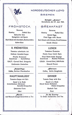 SS Bremen Breakfast Bill of Fare Card 27 June 1925