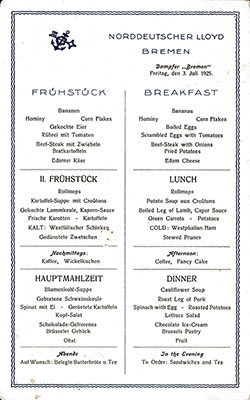 SS Bremen Breakfast Bill of Fare Card 3 July 1925