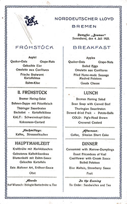 SS Bremen Breakfast Bill of Fare Card 4 July 1925