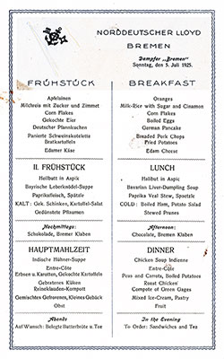 SS Bremen Breakfast Bill of Fare Card 5 July 1925