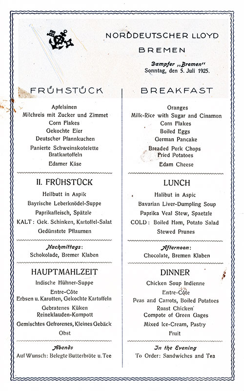 SS Bremen Breakfast Menu Card 5 July 1925