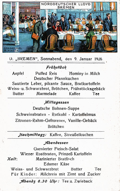 Front, SS Bremen Daily Menu Postcard - 9 January 1926