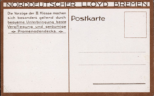 Back, SS Bremen Daily Menu Postcard - 9 January 1926