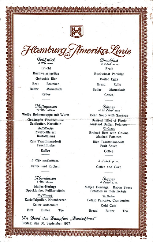 Vintage Menu, Hamburg-American Line, SS Deutschland, 30 September 1927