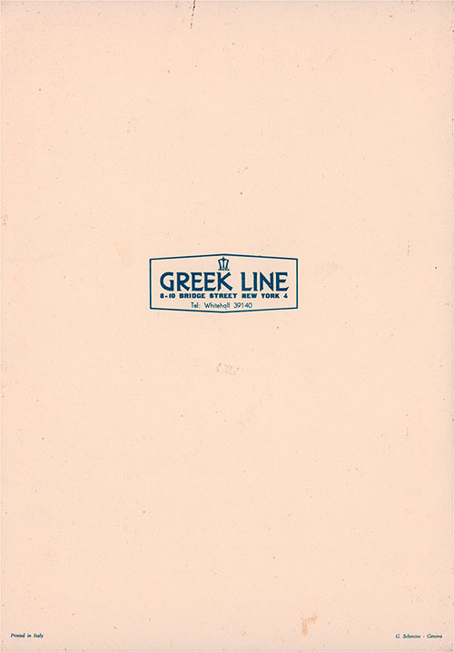 Back Cover, Lunch and Dinner Menu, Tourist Class on the TSS New York of the Greek Line, Wednesday, 21 August 1957.