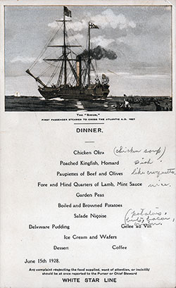 RMS Albertic Dinner Menu Card 15 June 1928
