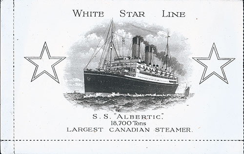 Front, SS Albertic Dinner Menu Postcard - 17 June 1928
