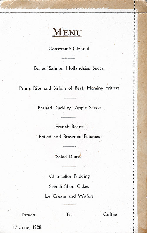 Menu Items, SS Albertic Dinner Menu Postcard - 17 June 1928