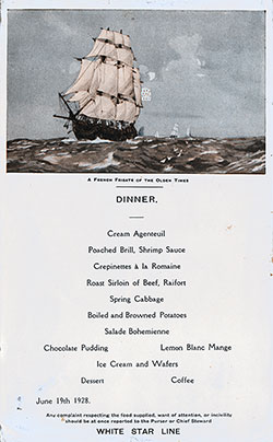 Menu Card for a Dinner Menu, White Star Line R.M.S. Albertic - 19 June 1928