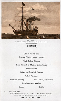 Menu Card for a Dinner Menu, White Star Line Albertic - June 20, 1928