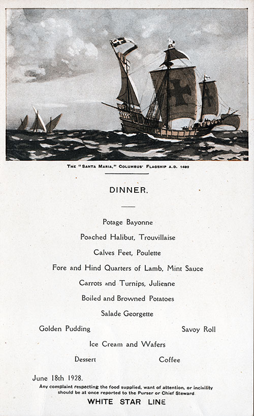 Menu Card for a Dinner Menu, White Star Line R.M.S. Albertic