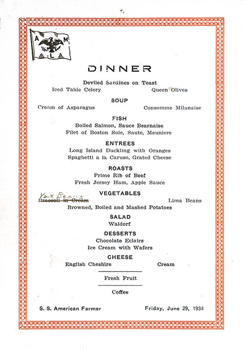 Dinner Menu Card, SS American Farmer, American Merchant Lines, 1934