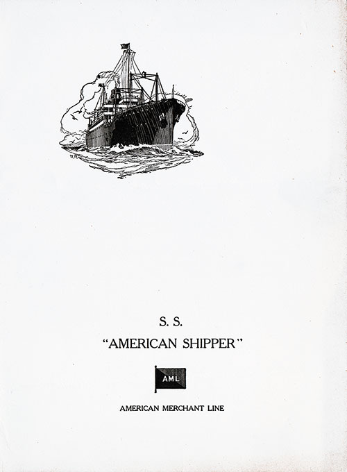 Dinner Menu, S.S. American Shipper, American Merchant Lines, 24 May 1929