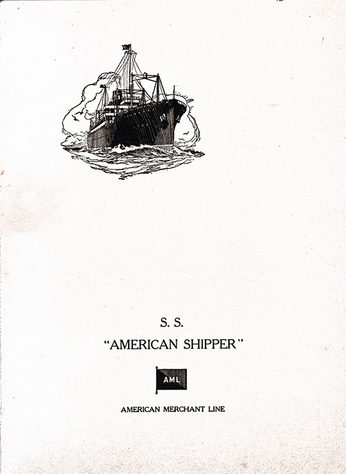 Farwell Dinner Menu, SS American Shipper, American Merchant Lines, 26 May 1929