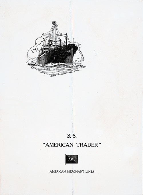 Menu Cover for a Dinner Menu, S.S. American Trader, American Merchant Lines, April 1929